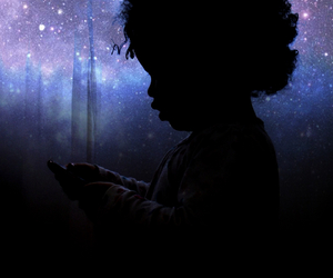 Afro, galaxy, and kid image
