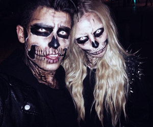 Halloween, couple, and skull image