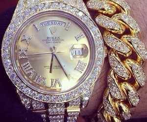 watch, gold, and rolex image