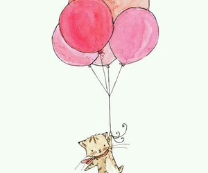 cat, kitten, and balloons image