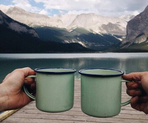 coffee, hands, and mountains image