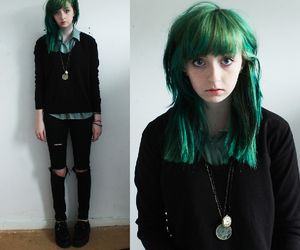 green hair and girl image