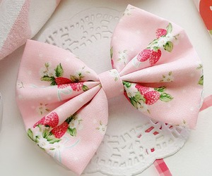 strawberry, bow, and cute image