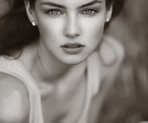 beauty, woman, and black and white image