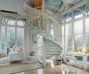 white, room, and stairs image