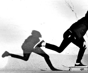 skate, black and white, and shadow image