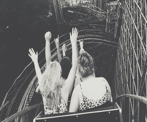 black and white, happy, and Roller Coaster image