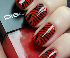 nails, red, and zebra image