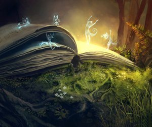book, magic, and forest image
