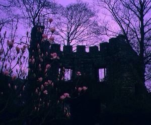 purple, castle, and flowers image