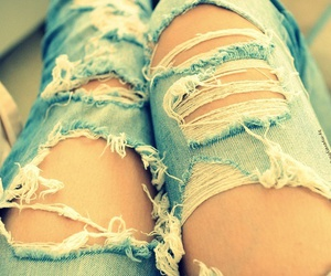 broken, legs, and ripped jeans image