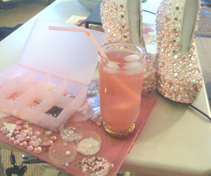glitter, pink, and heels image