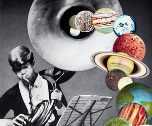 Collage, planet, and surrealism image