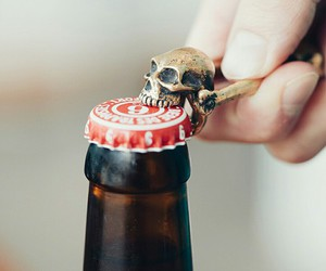 skull, beer, and drink image