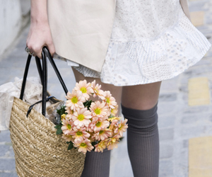 flowers, dress, and bag image
