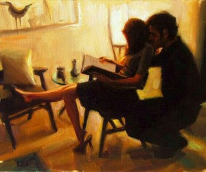art, couple, and lovers image