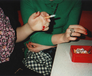 cigarette, girls, and hands image
