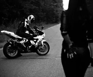 black and white and motorbike image