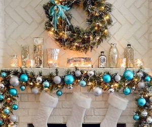 christmas, blue, and decoration image