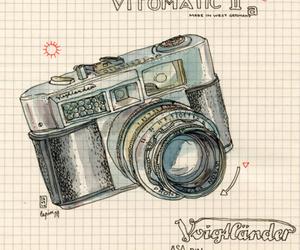 camera, drawing, and watercolor image