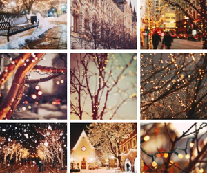 lights, snow, and christmas image