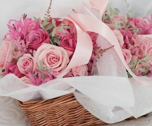 basket, bouquet, and pink image