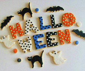 Halloween, cat, and Cookies image