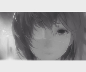 anime, black and white, and crying image