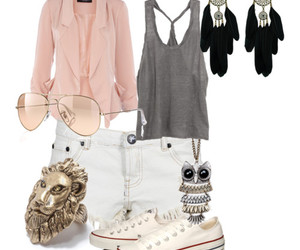blazer, neckless, and Polyvore image
