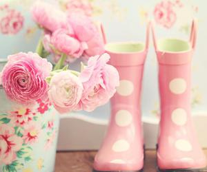 pink, flowers, and boots image
