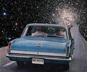 car, stars, and galaxy image