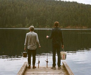 boys, forest, and lake image