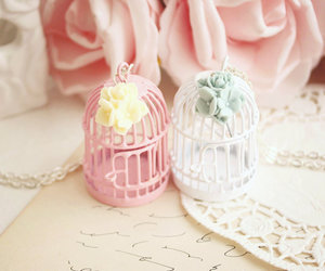 pink, cage, and flowers image