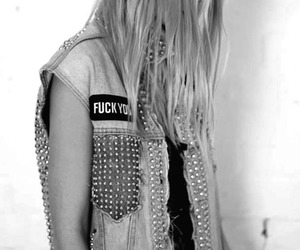 b&w, blonde, and studs image
