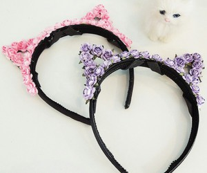 white kitten, floral headband, and pink cat ears image