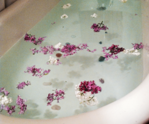 flowers, grunge, and bath image