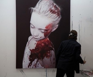 art, blood, and painting image