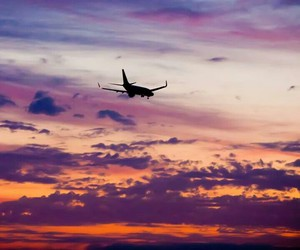 sunset, airplane, and Dream image