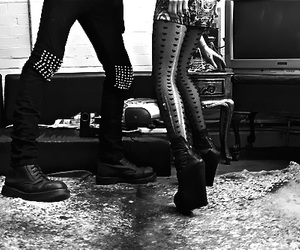 boots, black and white, and boy image