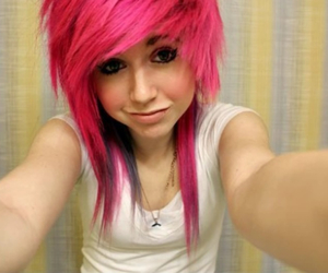 emo, pink, and scene image