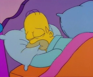 bed, homer, and simpsons image