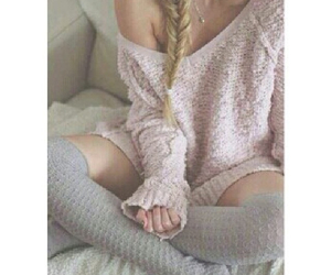 pink, sweater, and outfit image