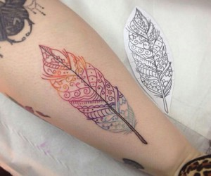 tattoo, feather, and colorful image