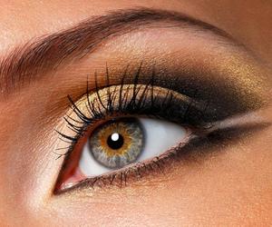 beauty, green eyes, and make image