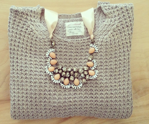 fashion, necklace, and sweater image