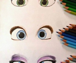 eyes, drawing, and blue image