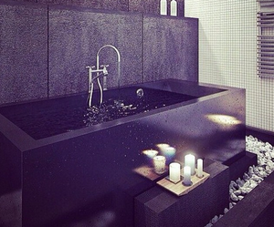 bathroom, design, and black image