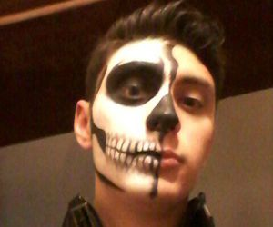 half, skull, and makeup image