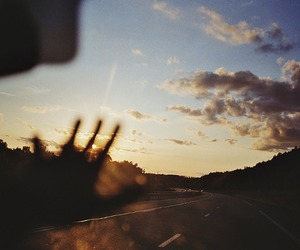 sky, road, and sunset image