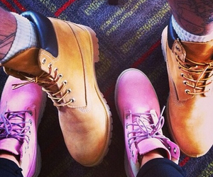 timberland, couple, and pink image